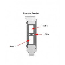 Tall bracket for 2-port QSFP adapter with gasket. Fits MHQH29C / MCX354A